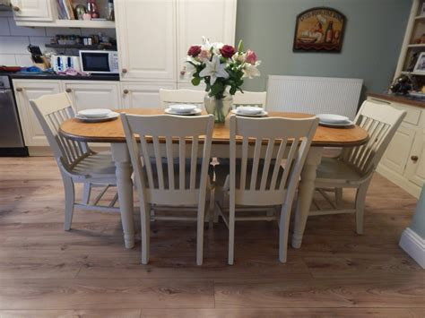 shabby chic extending dining table shabby chic ducal pine extending dining table 6 chairs sold moonstripe