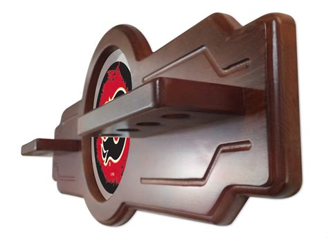 Bar Accessories Calgary by Calgary Flames Cue Rack In Tudor Finish With