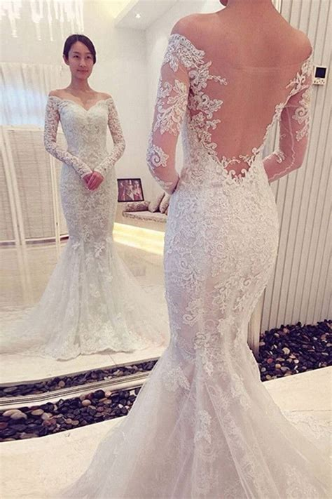 shoulder long sleeve lace wedding dresseswedding