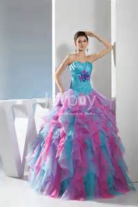 organza blue and pink prom quinceanera dresses