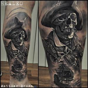 Pirate Skeleton on Guys Leg | Best tattoo design ideas