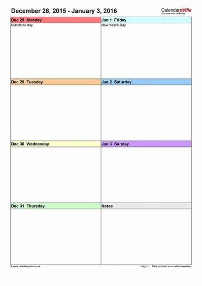 Weekly Calendar Blank Template Week Templates Word