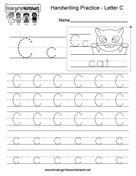 Letter C Writing Practice Worksheet  Free Kindergarten English Worksheet For Kids
