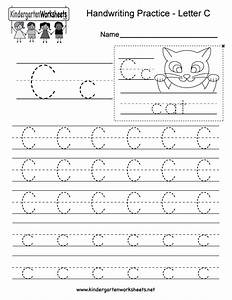 Letter C Writing Practice Worksheet - Free Kindergarten ...