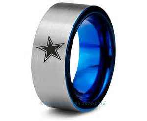 dallas cowboys blue tungsten wedding band ring mens womens brushed pipe cut nfl sports fan - Dallas Cowboys Wedding Ring