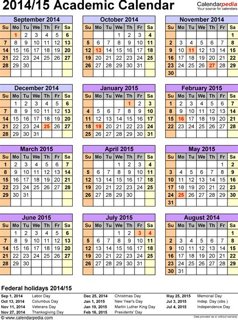 pdf calendar template academic calendars 2014 2015 as free printable pdf templates