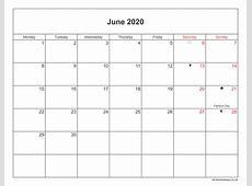June 2020 Calendar Printable with Bank Holidays UK