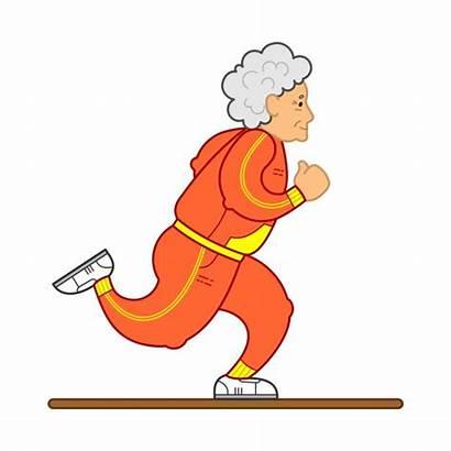 Running Runner Marathon Mature Woman Senile Clip