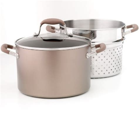 anolon advanced bronze hard anodized nonstick  quart covered stockpot  stainless steel