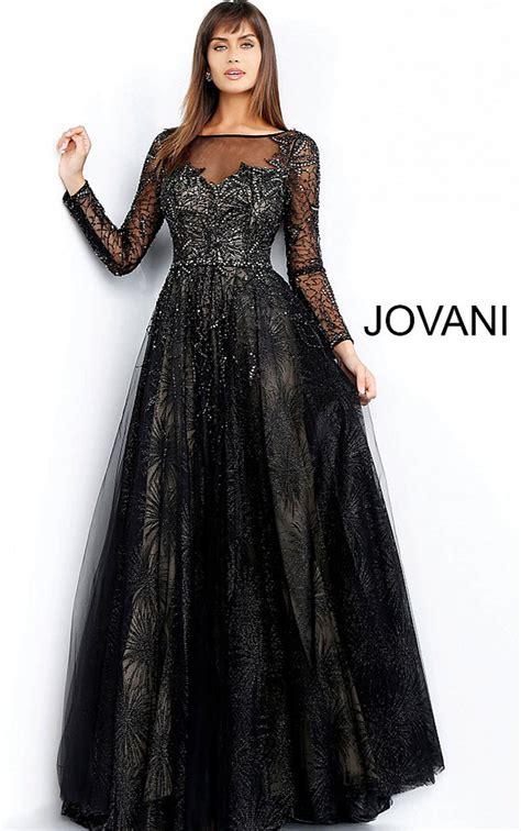 Jovani Dresses   Womens Black Long Sleeve Embellished ...