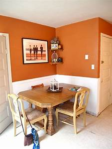 orange walls with white wainscoting try quotfalling leaves With kitchen colors with white cabinets with wall art for dorm rooms