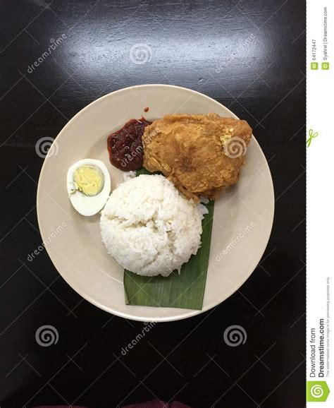 boil chicken time coconut milk rice with boil egg fried chicken and sambal stock photo image 64172447