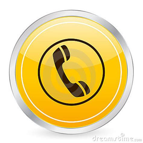 phone yellow circle icon royalty  stock photography