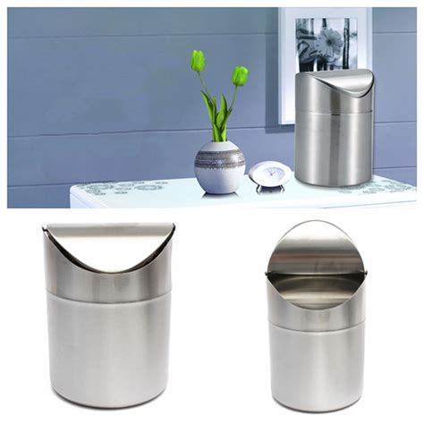 stainless steel kitchen garbage can 1 5l home kitchen table tidy stainless steel dustbin trash
