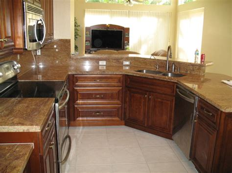 gallery kitchen cabinets  granite countertops