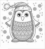 Penguin Coloring Pages Printable Christmas Adults sketch template