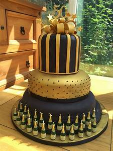 50th birthday cake celebration for black and gold theme ...