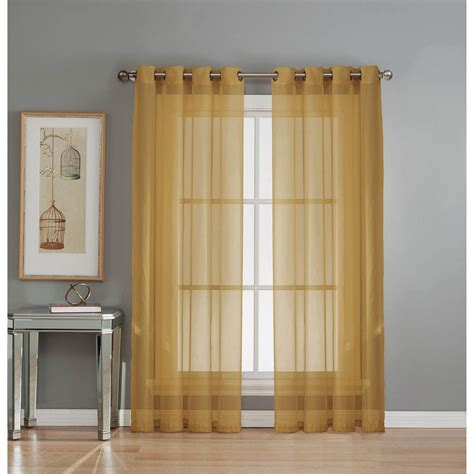 Window Elements Sheer Diamond Sheer Voile Gold Grommet