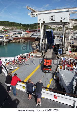 lorry boarding cross channel ferry watched  passenger