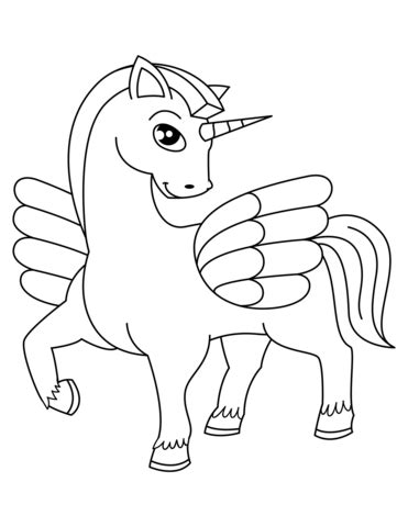 cute winged unicorn coloring page  printable coloring pages