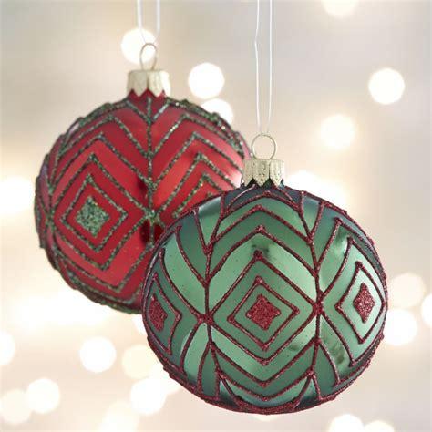 glitter diamond ball ornaments crate  barrel