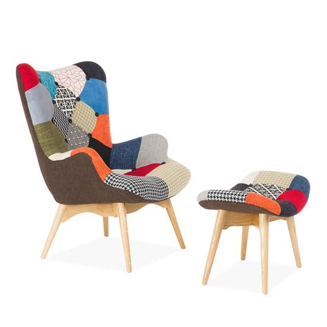 fauteuil et ottoman freather patchwork chaises ic 244 nes