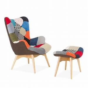 Fauteuil Scandinave Patchwork : fauteuil et ottoman freather patchwork chaises ic nes du design ~ Teatrodelosmanantiales.com Idées de Décoration