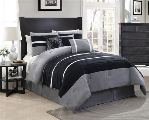 11 Piece Queen City Loft Black/gray Micro Suede Bed In A
