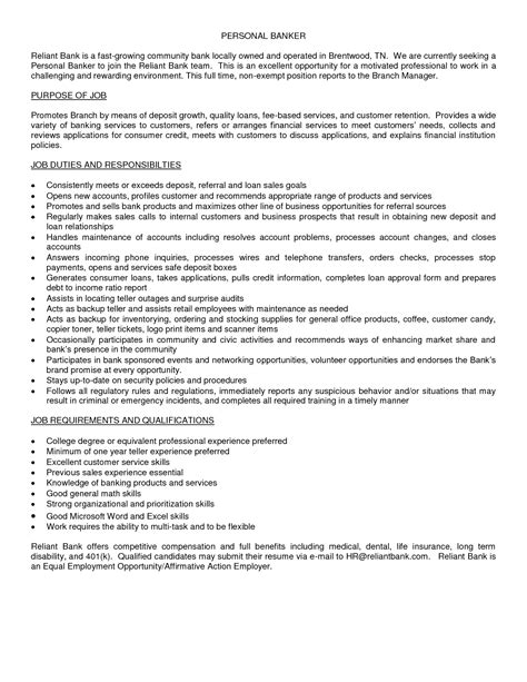 How To Write A Personal Banker Resume by Resume Personal Banker Resume Description