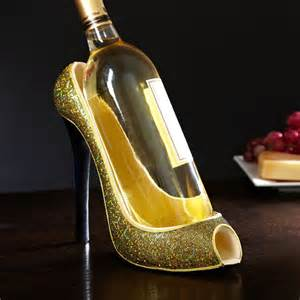 Gold High Heel Shoe Wine Bottle Holder