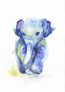 Baby Elephant Art, Watercolor Painting, Baby Boy Nursery ...
