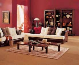 simple living room design with brown white sofa wooden coffee table wall paint and wooden