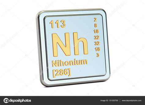 Nihonium Nh, Chemical Element Sign. 3d Rendering