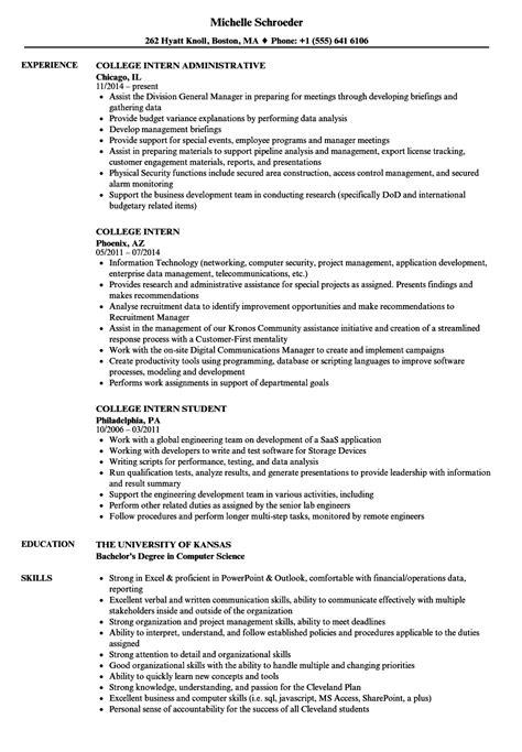 college intern resume samples velvet jobs