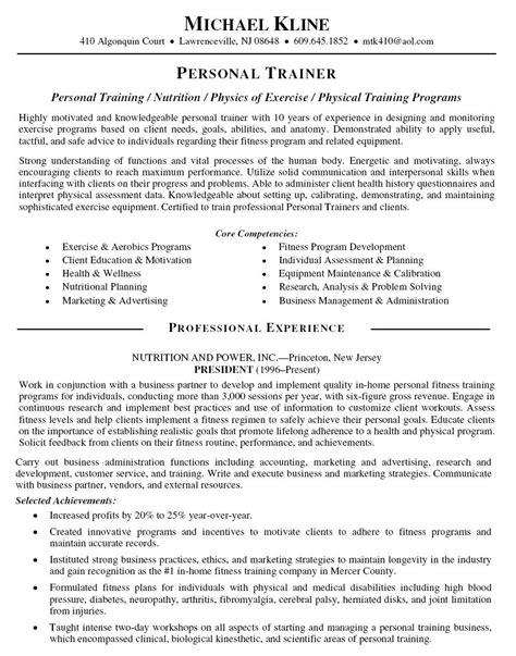 Personal Trainer Sle Resume by Personal Trainer Resume Objective Personal Trainer Resume