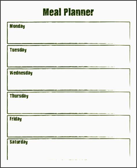 weekly meal planner  sampletemplatess