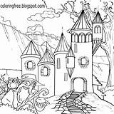 Castle Magical Drawing Coloring Outline Pages Land Drawings Mystical Printable Creatures Magic Supernatural Getdrawings Kingdom Wizard Lets Creature Wonderful sketch template