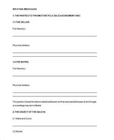 Bill Of Sales Exle by Free Bill Of Sale Template Cyberuse