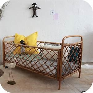 Lit Bebe Rotin : lit b b vintage rotin ann es 50 ann es 60 atelier du petit parc ~ Teatrodelosmanantiales.com Idées de Décoration