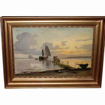 Oil Painting Board Antique Wooden Boats Sailing