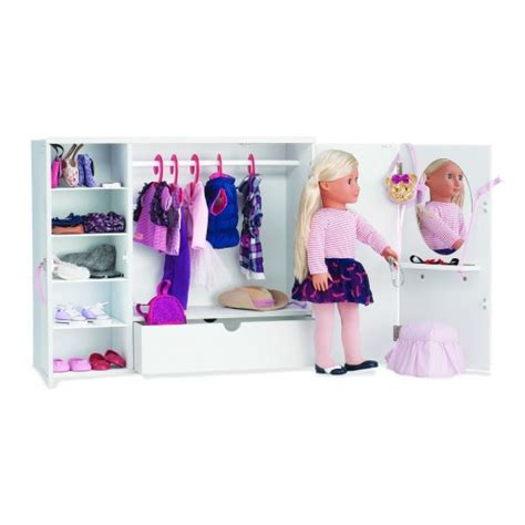 Our Generation Doll Closet by Our Generation Wooden Wardrobe Large Dolls Uk