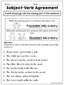 subject verb agreement practice sheets first grade subject verb agreement english grammar