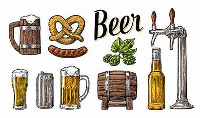 Beer Tap Bottle Class Illustration Vector Pouring