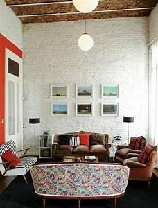 Mur Brique Blanc : le salon en brique rouge stylis en 35 exemples ~ Mglfilm.com Idées de Décoration