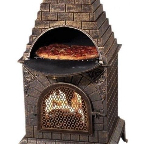outdoor pizza oven chiminea fireplace cast iron grill