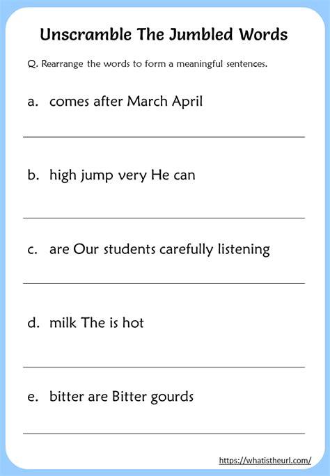 unscramble  jumbled words worksheet  home teacher