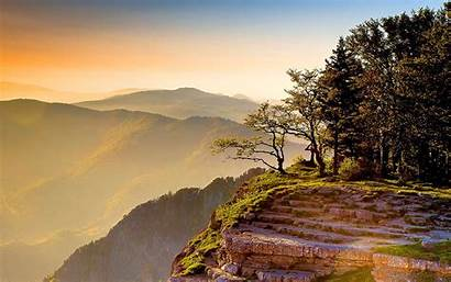Mountain Sunset Cliff Summer Wallpapers Nature Background