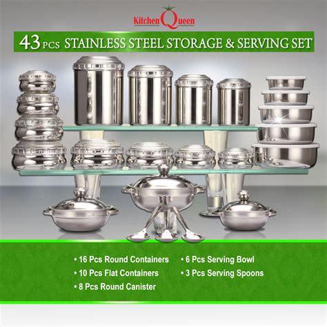 buy kitchen queen  pcs stainless steel storage serving