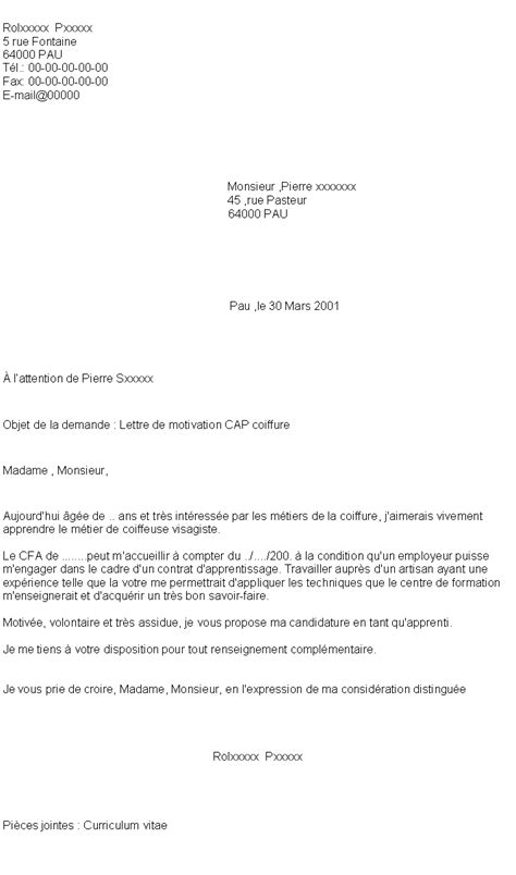 lettre de motivation pour coiffeuse 4 lettre de motivation apprentissage patisserie exemple