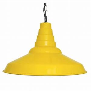 Extra large yellow metal ceiling shade in industrial style